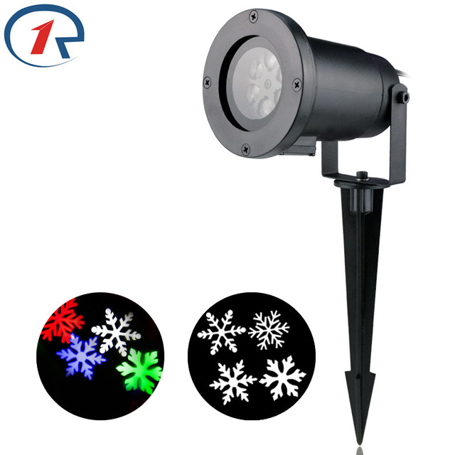 ZjRight Christmas snowflake LED Projector light Red Green Blue White move  Snowflake Stage light outdoor party lights disco light-in Stage Lighting