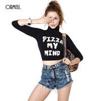 ORMELL Women Letter Printed Crop Top T Shirt Three Quarter Sleeve Turtleneck Elastic Tees Retro Casual