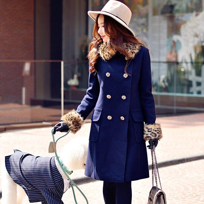 Оригинальный шерсть пальто 2017 Осень и зима английский стиль diamond двубортный Теплая леопардовая расцветка меховой воротник пальто женские