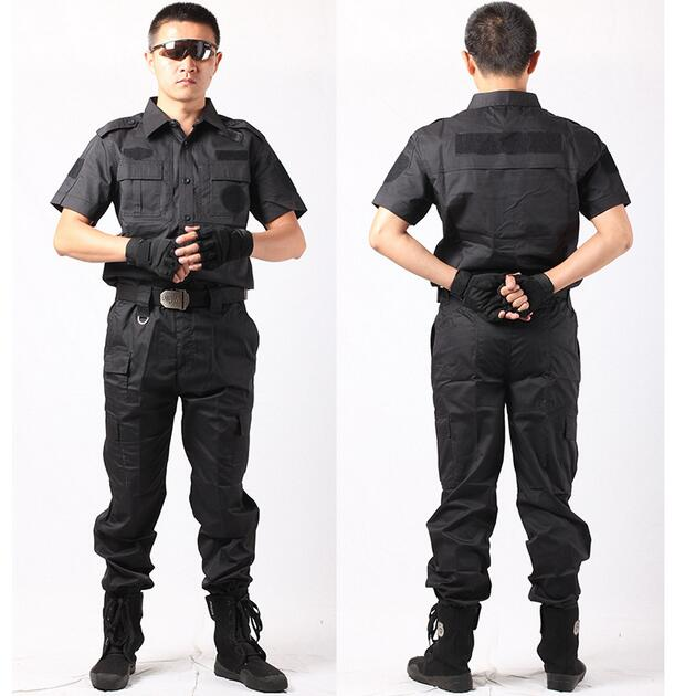 59ce5aee Secret security guard uniform military suit short sleeved black combat security  uniforms on duty special warfare Video props-in Military from Novelty ...
