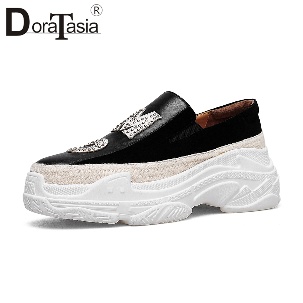 DORATASIA 2019 Autumn Brand Patchwork Loafers Women Genuine   Leather   &   Suede   Flat Dady Shoes Female Casual slip-on Shoes Woman