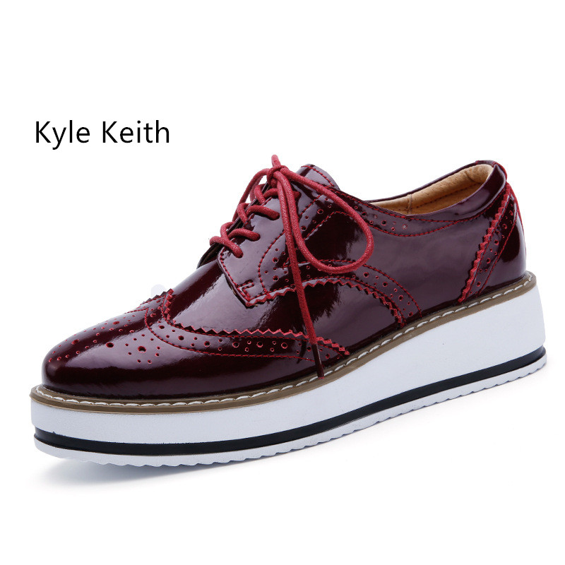Kyle Keith Women Platform Oxfords Brogue Flats Shoes Patent Leather Lace Up Pointed Toe Brand Creepers Free Shipping qmn women genuine leather platform flats women cow leather oxfords retro square toe brogue shoes woman leather flats creepers