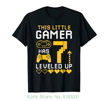 Kids 7th Birthday Boys Gamer T Shirt Leveled Up 7 Year Old Summer