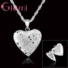 Charming One PC Frame Case Picture 925 Sterling Silver Romantic Lovely Heart Pendant 18 Inches Necklace For Women Ladies(China)