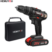 25V Impact Drill Electric Hand Drill Battery Cordless Electric Hammer Drill Electric Screwdriver Household Electric Tools