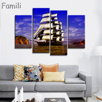 4pcs No Frame Seascape Sailing Boat Blue Sea Wall Art Oil Painting On Canvas For Home