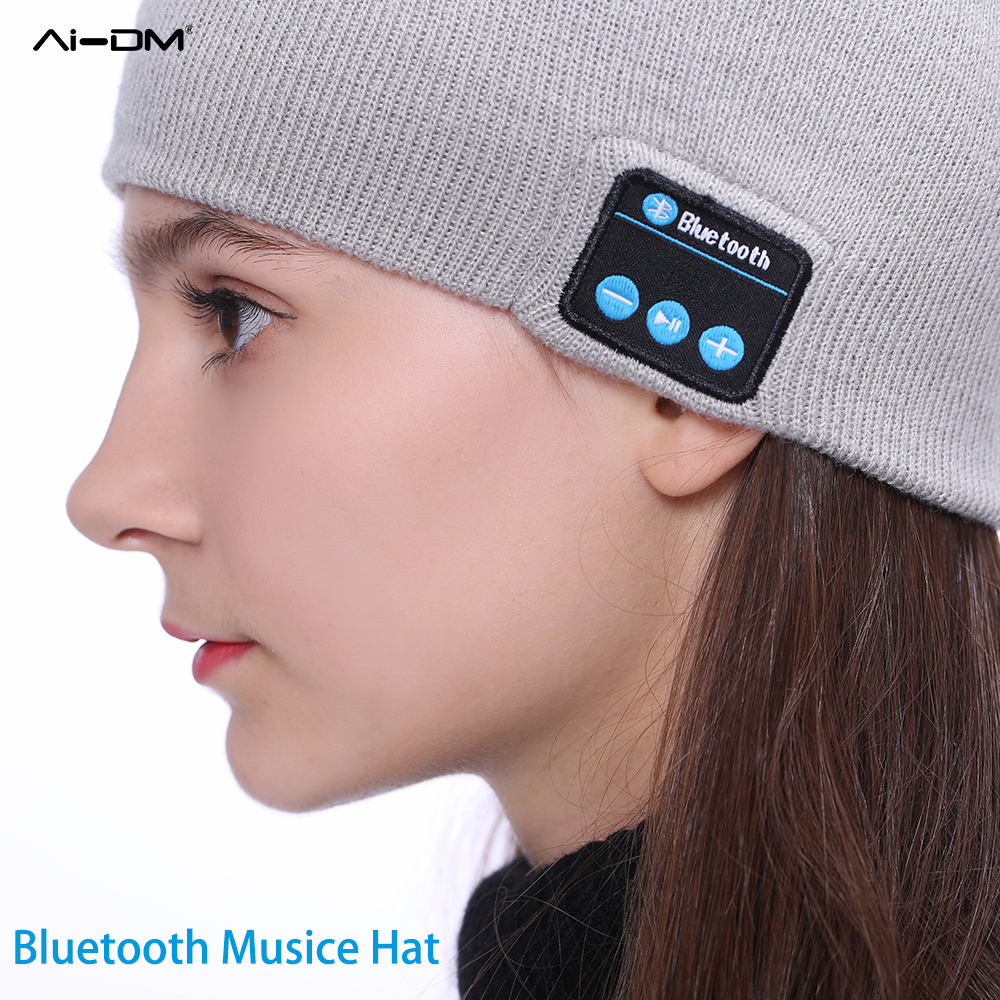 AIDM Wireless Bluetooth Earphone Headphone Music Hat Winter Keep Warm Beanies For Outdoor Sport Headset with Microphone Mini Cap brand winter hat knitted hats men women scarf caps mask gorras bonnet warm winter beanies for men skullies beanies hat