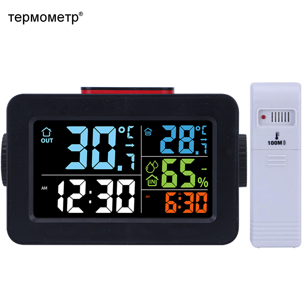Gift Ideas Bedside Wake Up Digital Alarm Clock with Thermometer Humidity Hygrometer Indoor Outdoor Temperature Table Desk Clock