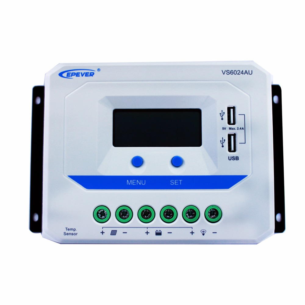 EPEVER VS6024AU 60A Solar Charge Controller PWM 12V 24V DC Auto with Informative Black Light LCD display Double 5V USB EPsolar epever vs6024au 60a pwm solar charge controller 12v 24v dc auto with informative black light lcd display double 5v usb epsolar