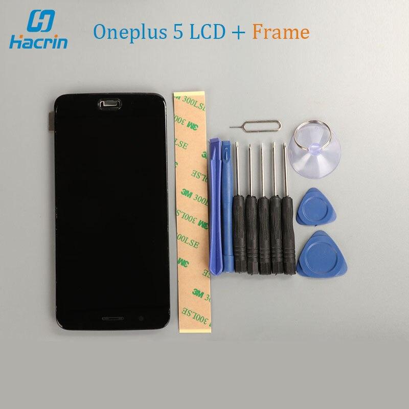 OnePlus 5 LCD Display + Touch Screen + Rahmen Tools Glasscheibe Zubehör Für OnePlus 5 Snapdragon 835 5,5 zoll