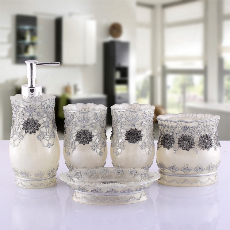fahion resin vintage flowers luxury home bathroom accessory sets 5pcs