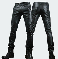 29 33 New Winter 2020 Men's Personality Stitching Tight Leather Pants Korean Slim Leather Trousers Tide Male Feet Pu Pants