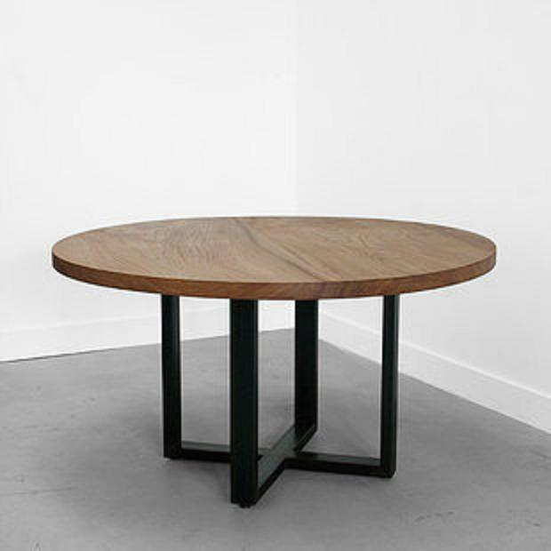 Am ricaine moderne en fer forg bois table th de table caf simple rond r tro mash tables - Table ronde bois et fer forge ...