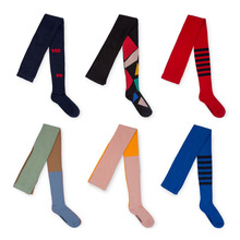 Stockings Kids Striped Tights Girls Cotton Knitted Toddlers Baby Long for 0-8Y Geometric