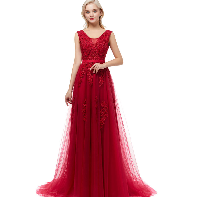 Beauty Emily Robe De Soiree Lace Sexy Backless Long Evening Dresses 2019 Bride Banquet Elegant Floor-length Party Prom Dress(China)