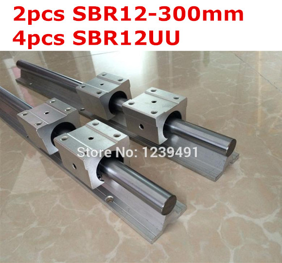 2pcs SBR12 - 300mm linear guide + 4pcs SBR12UU block cnc router 2pcs sbr12 1500mm linear guide 4pcs sbr12uu block for cnc parts