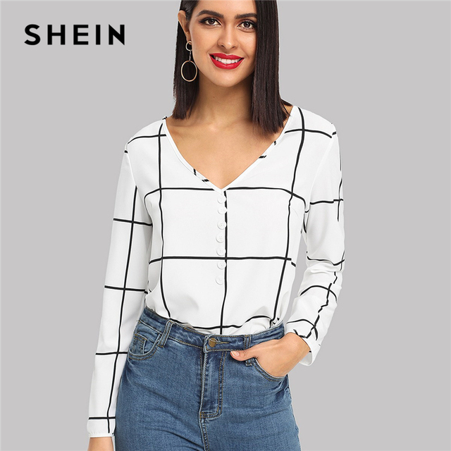 e004d1df0d8 SHEIN Black And White Office Lady Elegant Button Front V-Neck Long Sleeve  Plaid Blouse Autumn Workwear Women Tops And Blouses