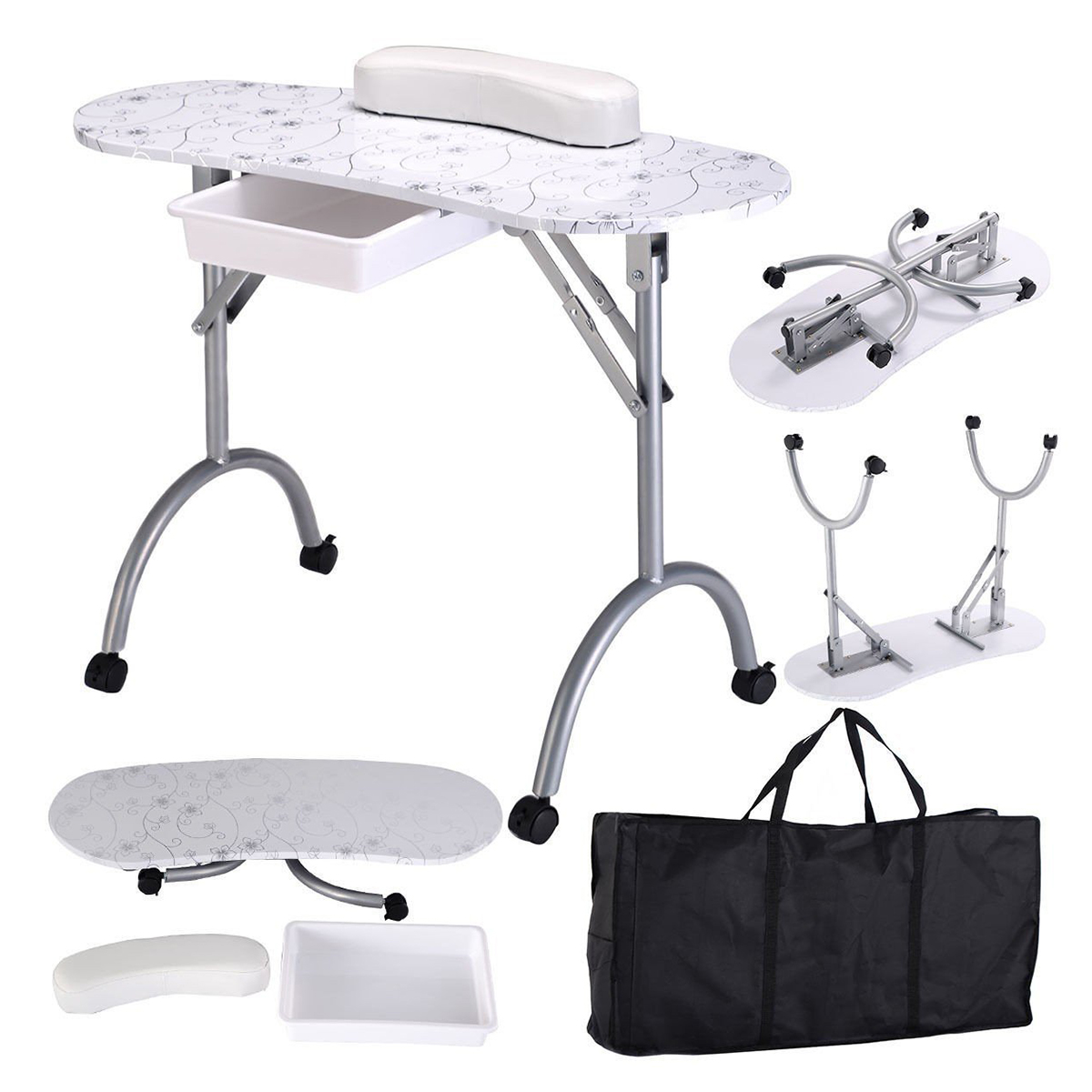 Portable Manicure Nail Table Station Desk Spa Beauty Salon Equipment (White Flowers)