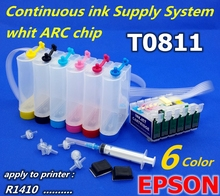 CISS T0811-T0816 Continuous Ink Supply System Apply to printer R1410 ink system PX660 PX700 PP ink tank t0811 continous ink supply system for epson 1410 ciss with reset chip 500ml pigment ink color