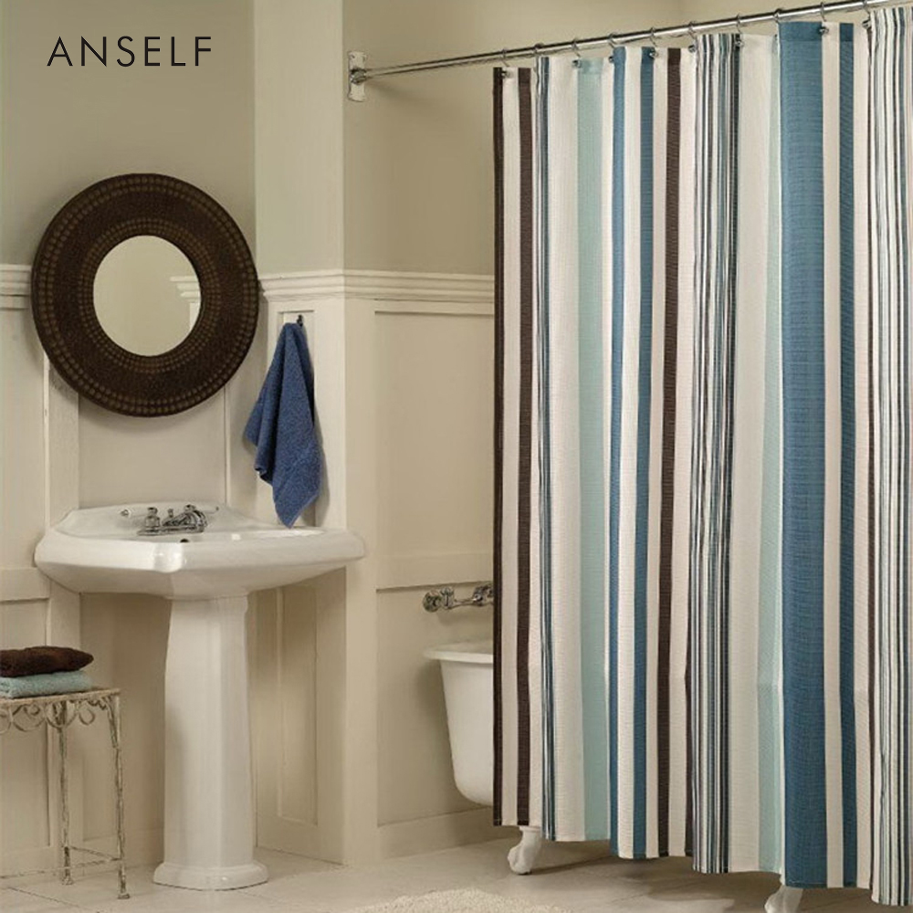 Online Shop Shower Curtains Waterproof Polyester Fabric Vertical Bars Stripe 180180cm Bathroom Curtain Cortinas De Bano