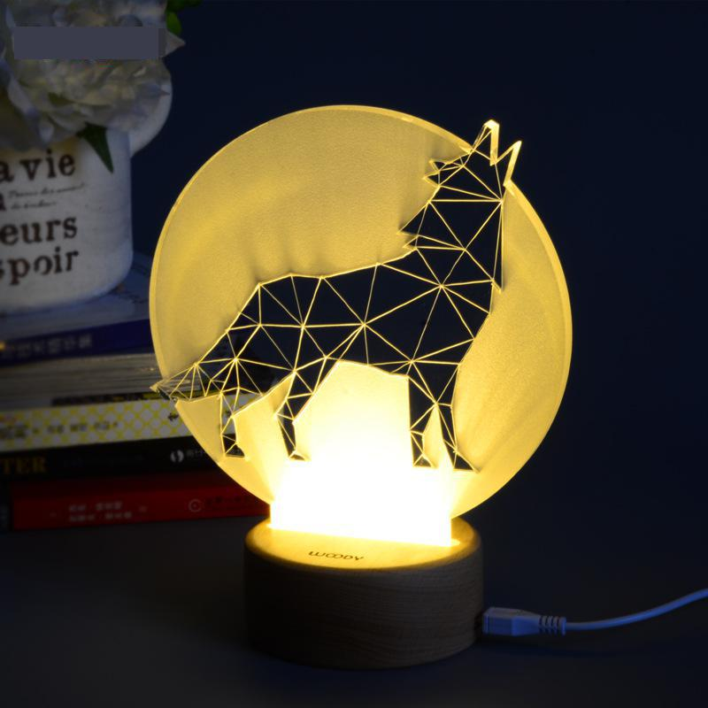 Woody Creative Wood 3d Lamp Waste Land Series Lighting Table Lamp Christmas Gift Children's Toys Christmas decorative lights