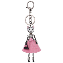 HOCOLE 8 colors Doll Cat Head Cute Rhinestone Black keychain for Women Car Pendant Hot Girl Statement Jewelry Bag Key Chain Ring
