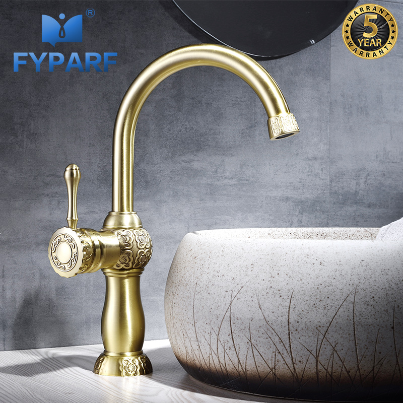 FYPARF Gold Basin Faucets Single Handle Vintage Bathroom Tap hot/cold Mixer Water Taps for Bathroom Sink Bathroom Vanities China