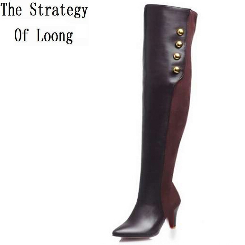 Women Autumn Winter Red Bottom Thin High Heels Side Zipper Rivets Pointed Toe Over The Knee High Boots Plus Size 32-45 SXQ0813 in the new winter boots sexy 2016 meters white hollow pointed red bottom short boots sm70887bt k1
