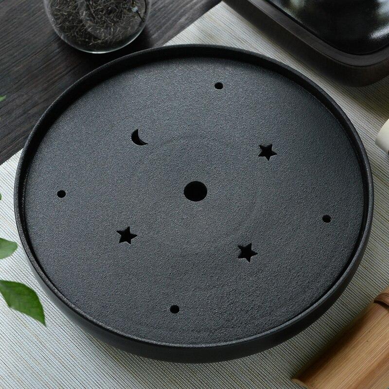 Круглая черная глиняная посуда для чая tld керамический сухой большой круглый камень для хранения воды чайный поднос японский Специальное п