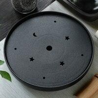 Round black crockery tea tld ceramic dry Big circular water storage stone tea tray tea Japanese special offer 30*30*6cm