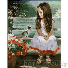 New framed digital oil painting by numbers diy home decoration craft paint on canvas unique gift picture girl and cat E091(China)