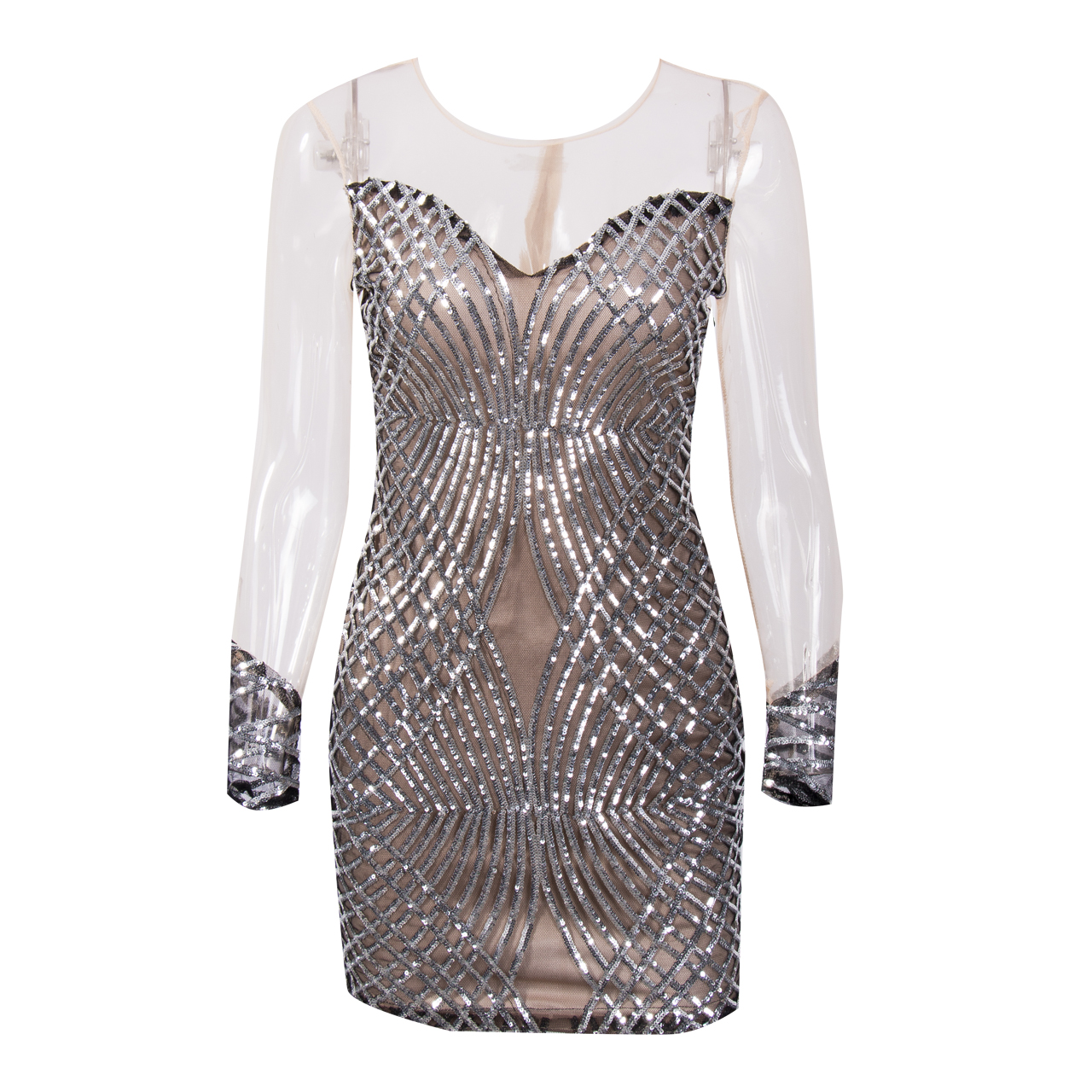 Detail Feedback Questions about Women Summer Mesh Pencil Dress Long Sleeve  Sexy Bodycon Sequins Patchwork Evening Party Dress Strapless Short Mini  Dresses ... b482510b2776