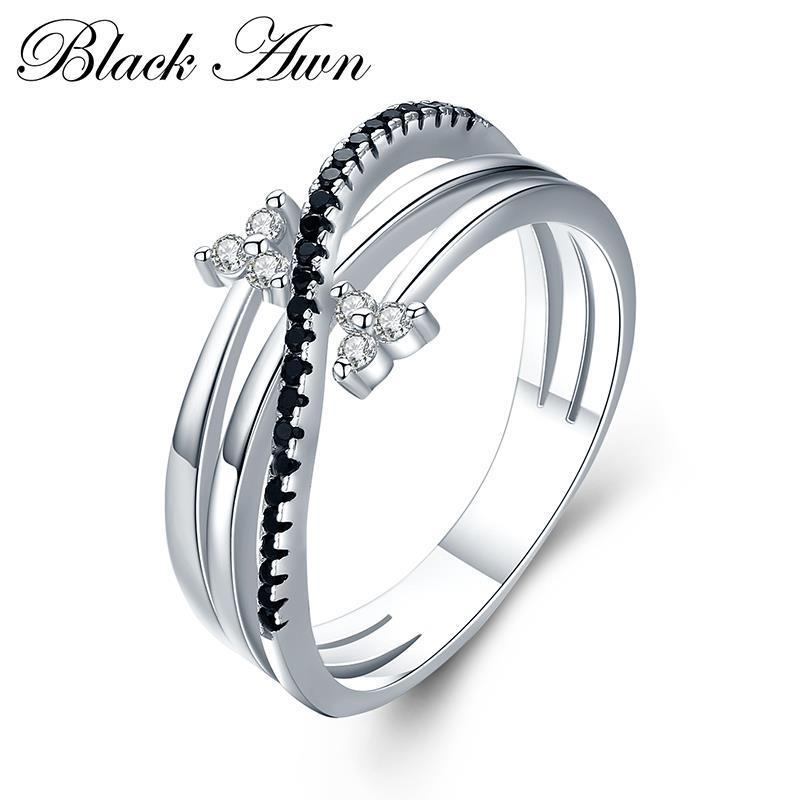 Romantic 3g 925 Sterling Silver Fine Jewelry Bague Row Black Spinel Leaf Wedding Ring For Women Bijoux G005