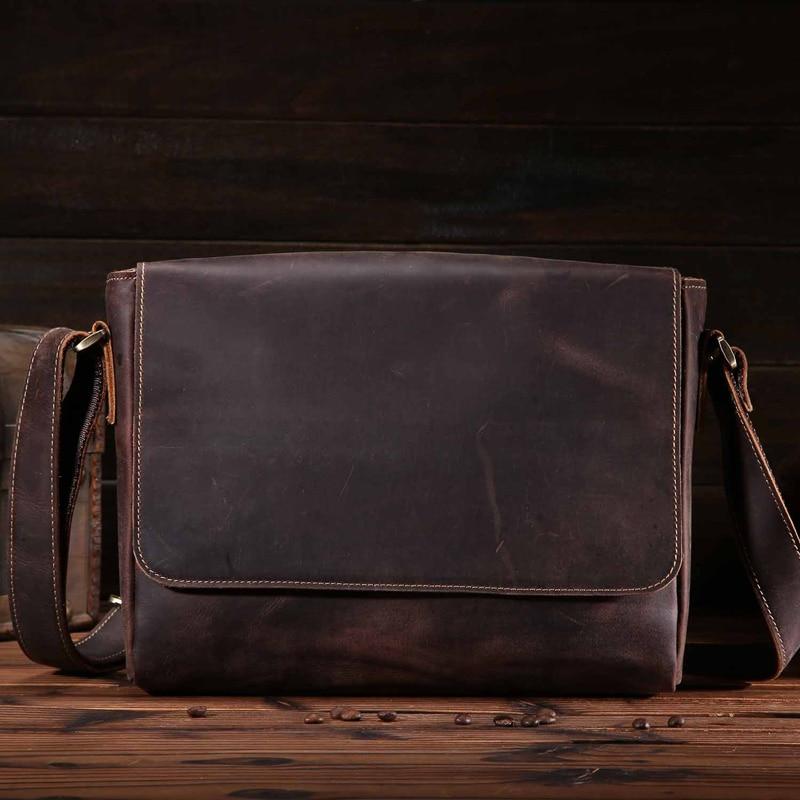 Фотография Vintage Men Handbag Cow Genuine Leather Men