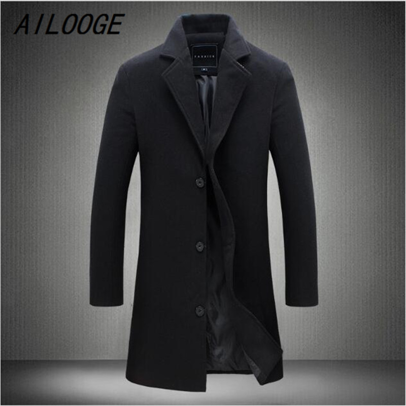 AILOOGE New Spring Autumn winter British turn down collar Man Casual Jacket long Fashion Slim solid men Trench Coat Plus Size