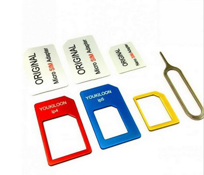 For iPhone 4 4S 5 5s 6 6s With Retail Box Freeship 4 in 1 Nano Sim Card Adapters + Micro Sim+ Stander Sim Card SIM Card & Tools