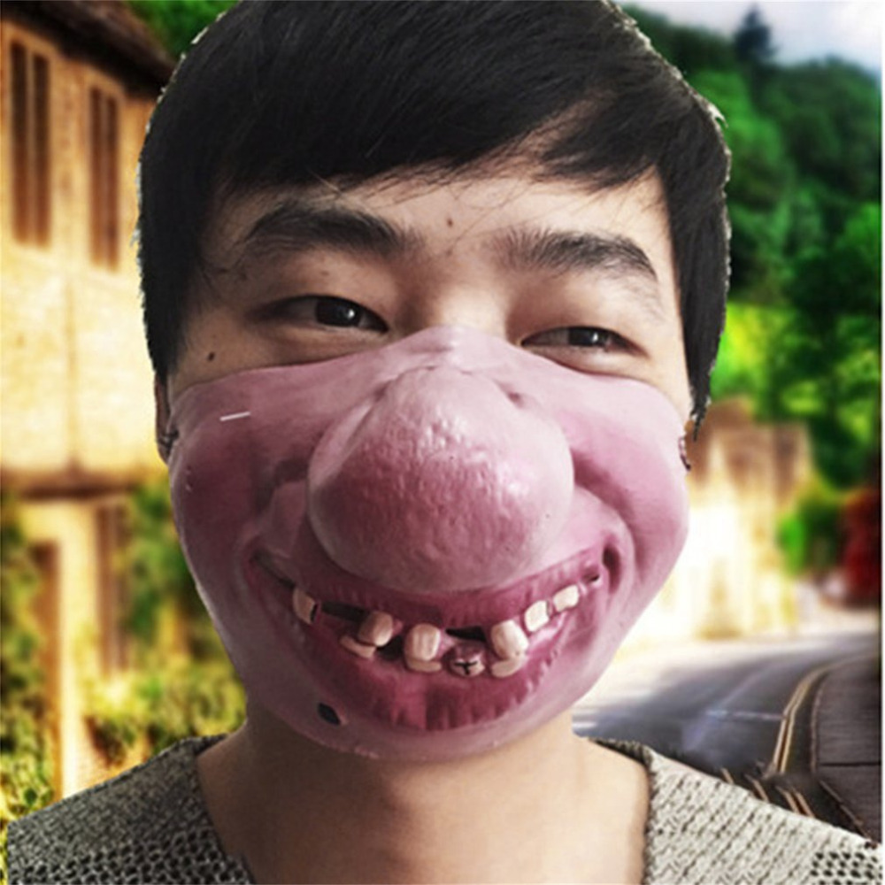 Men Women Latex Mask Half Face Cosplay Latex Big Nose Halloween Carnival Party Costume Accessories NonToxic Funny Scary Horrible
