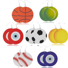 new arrival creative football leather earrings for women lightweight round dangle  statement fashion sport jewelry gift