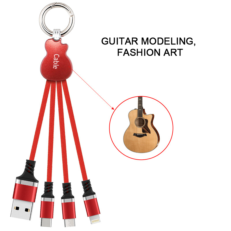 Multi 3 In 1 Micro USB TypeC Charging Cable Guitar Design Keychain Data Sync Line For