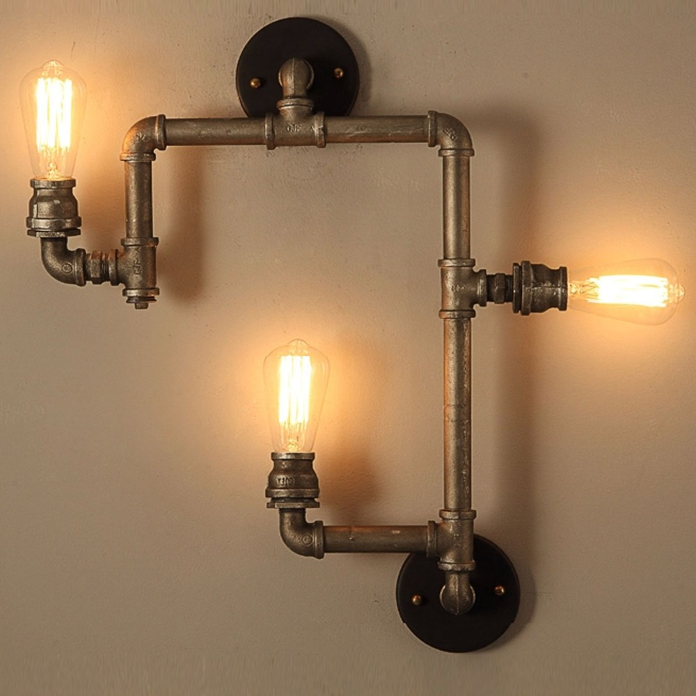 3 Heads Industrial Water Pipe Wall Lamp American Country Wall Lights ...
