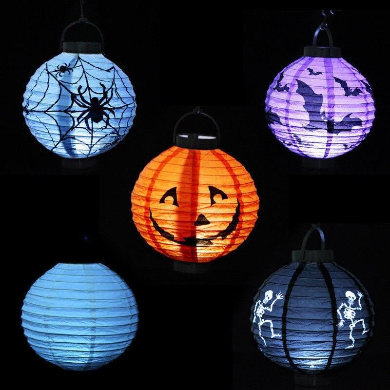 led paper bat pumpkin spider hanging lantern light lamp halloween party decor