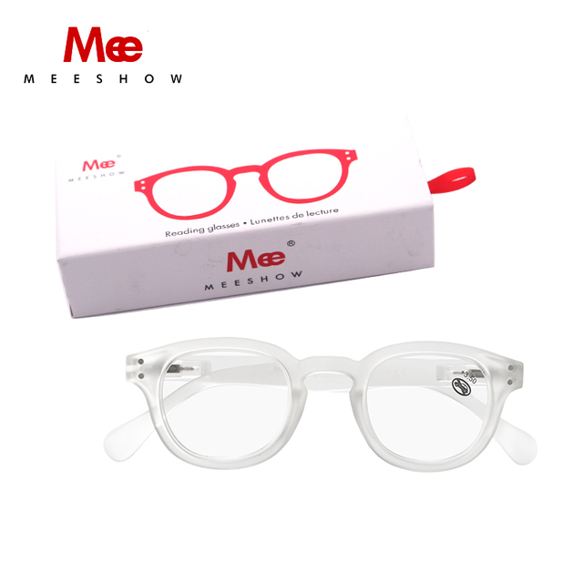 ddde2d986e Meeshow Transparent Reading glasses clean Retro Europe style quality women  eye glasses with flex glasses with case family set