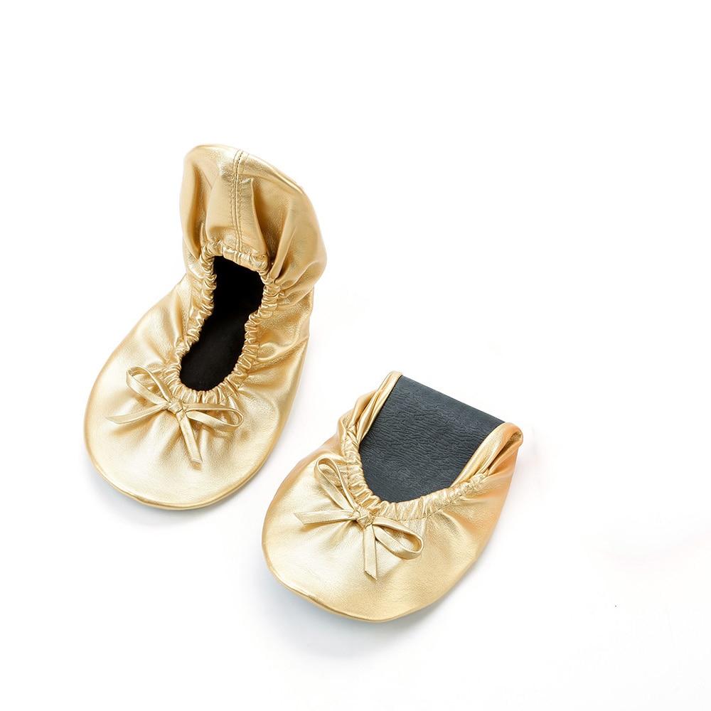 Personnalisé Pliantes Chaussures Flexible Foncé Livraison Gratuite Ballerines Dames Sac Or Dans zwB7TWqxUn