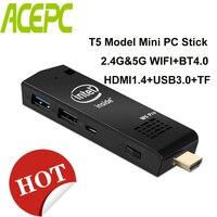 Микро Карманный ПК Z8350 Мини ПК T5 мини-компьютер Intel atom Z8350 4 ядра WiFi2.4G & 5G 4 K Bluetooth 4,0 HDMI HTPC USB PC stick