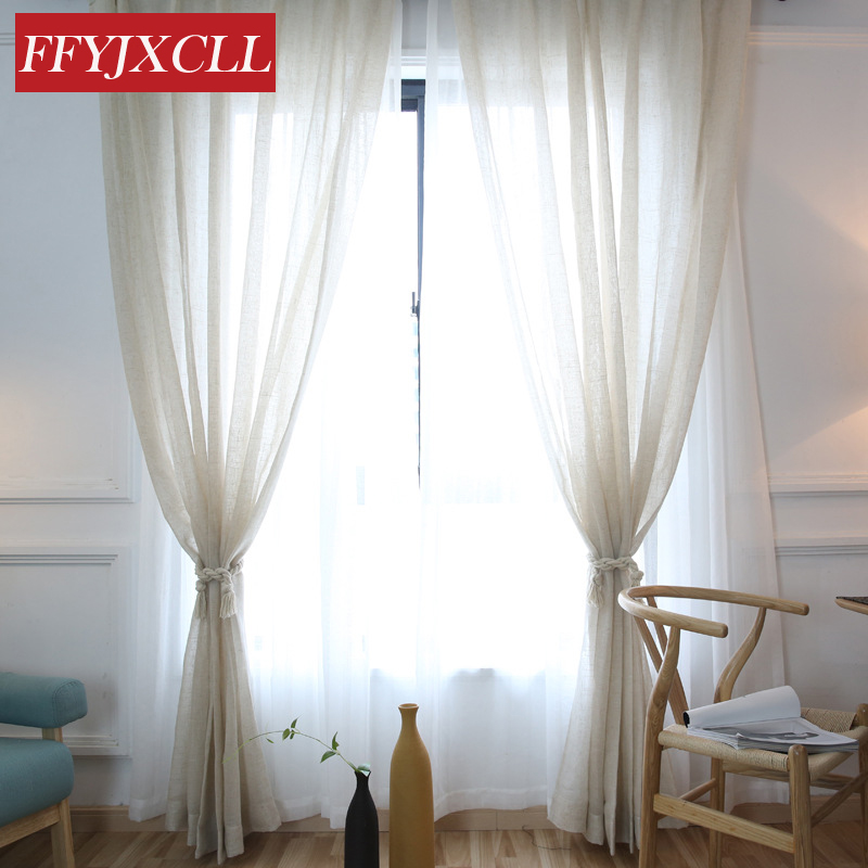 Bedroom Curtains Solid Color Japan Window Shades Imitation: Japanese Korean Simple Cotton Linen Solid Color Tulle