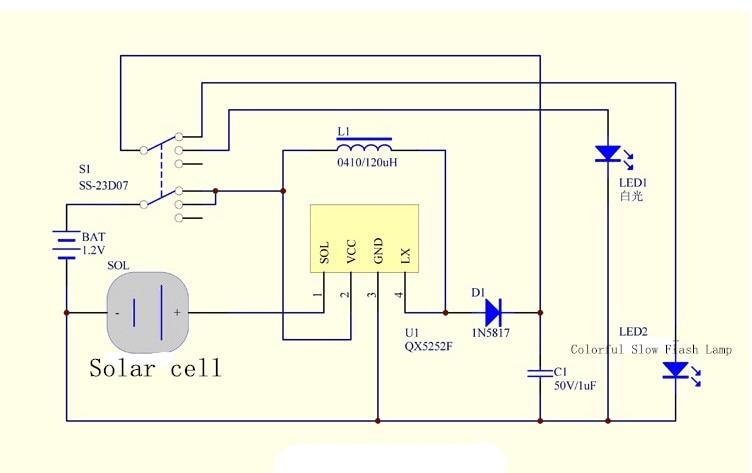 Solar Light Charging Circuit On 5252f Solar Light Circuit