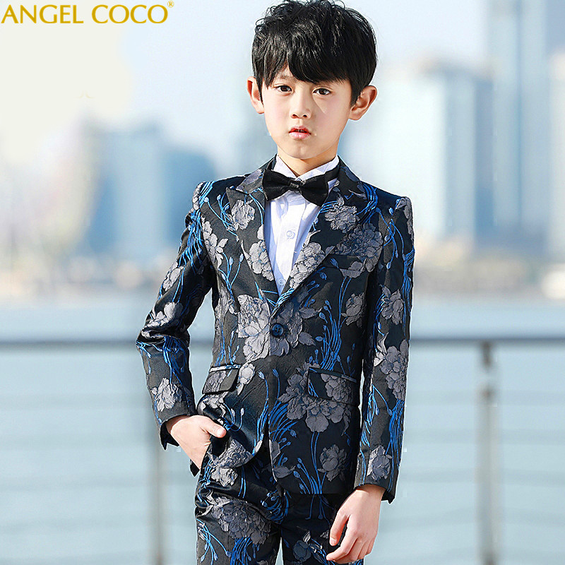 New Arrival Fashion Boys Kids 5PCS Blazers Boy Suit For Weddings Prom Formal Spring Autumn Gray/Blue Dress Wedding Boy Suits kimocat boy and girl high quality spring autumn children s cowboy suit version of the big boy cherry embroidery jeans two suits