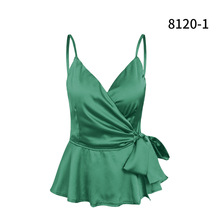 women wear sexy silk satin material vest tank top crop camis underwear mujer summer ruffled camisa