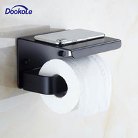 Toilet Paper Holder Black Toilet Paper Roll Holder with Shelf Wall Mounted for Bathroom or Kitchen