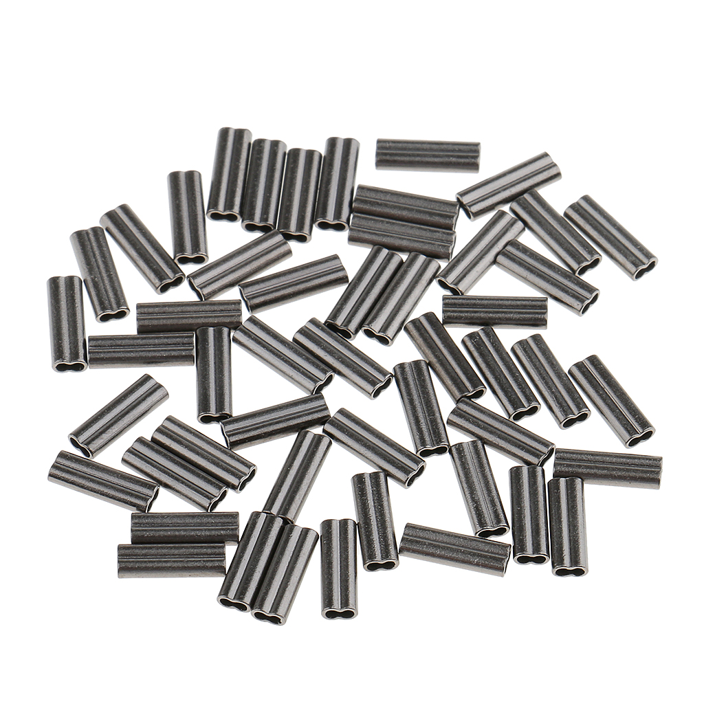 100 Pieces Double Barrel Fishing Crimps Sleeves For Rig Making 1mm Bore 1.2mm Bore Corrosion Resistant
